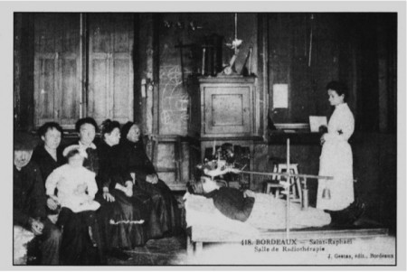A French postcard depicts the waiting room of an  X-ray salon