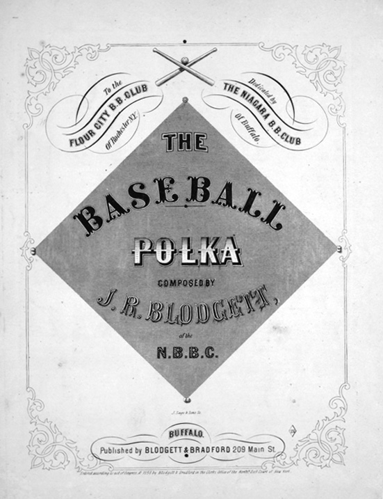 The Base Ball Polka (1858), perhaps the earliest piece of published baseball sheet music, likely composed for a club dance.